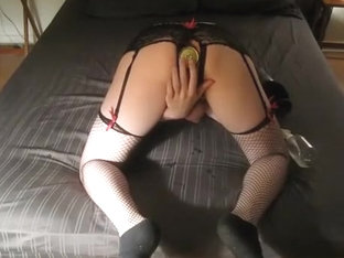 Sissy on bed - 10 inches circumference enlarged bam