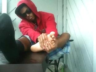 Gay black boy shows feet