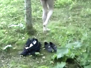 Risky strip naked in woods on way home from school