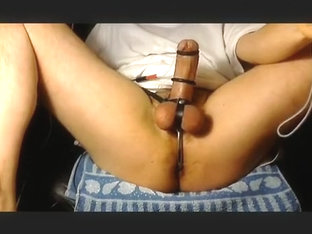 Strapped And Asslock Cockringed Electro Cum