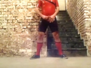 Jerk off in shiny soccer rubber (1)