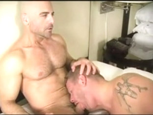 One gay hunks muscle man is having anal sex