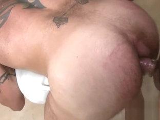 Bushy guy gets a lusty anal spooning from masseur