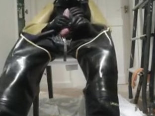 full industrial rubber jack off and cum