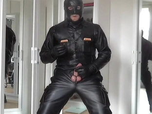 leather biker smoke cigare and rubber mask