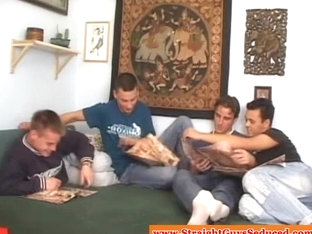 Four straight twinks sucking cock and tasting jizz