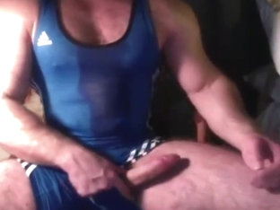 Hairy big dick muscle in wrestling singlet jerk off   cum