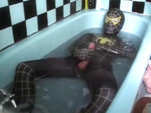 [REPOST] Raunchy Wetlook Bath 2: Black&Yellow Spidey Zentai