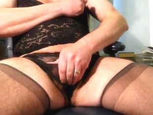 Crossdresser cums all over stockings