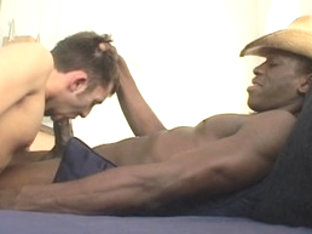 Horny male pornstar in amazing black, interracial gay sex scene