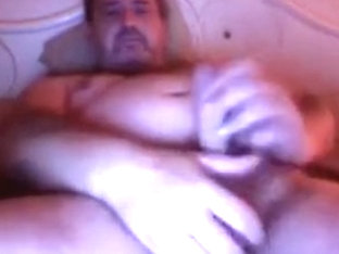 Brit dad on web camera discharges sex cream
