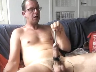 Sounding and estim, sperm on my nipples..