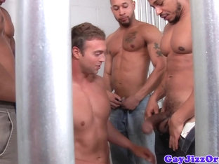 Ebony muscles cumming over white jock in prison