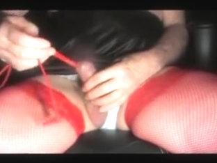 Urethral sounding crossdresser sissy dildo lingerie nylon