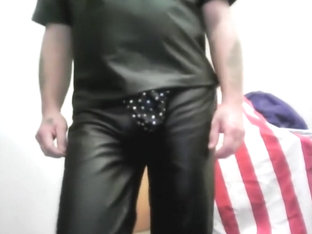SEXY LEATHER COWBOY IN SEXY LEATHER G-STRING STRIPSHOW.