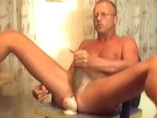 young dad jerks off with dildo