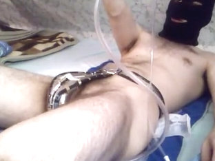 Diaper make water enema whilst locked in chastity strap