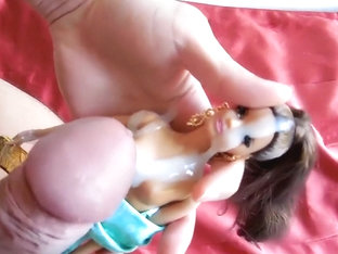 Barbie Bukkake - Brunette bitch gets fondled and facialized