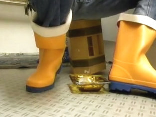 nlboots - just sitting in orange bristol rubber boots
