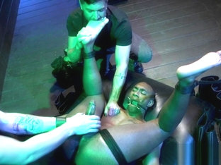 Muscly black stud gets edged by maledom duo