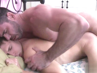 Gay daddy slips into bed to fuck sleeping twink