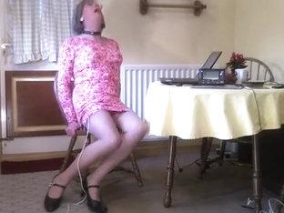 Electro Stim of Johanna in Pink Dress