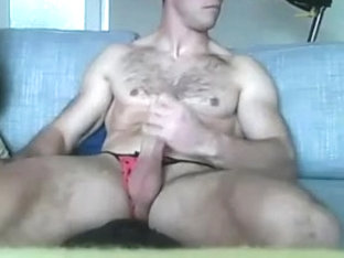 Str8 guy with his girlfriend panties on cam
