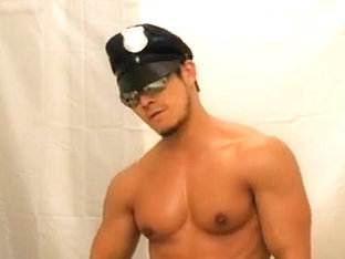 Stripper Cop Muscle Mikey Flexes & Cums