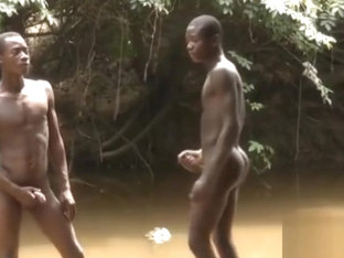 Black Young Boys in the River