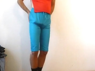 crossdresser in hot shiny kappa nylon shorts cum