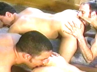 Horny male pornstars Kevin Alexander, Mark Gallo and Sonny Diaz in exotic blowjob, rimming homosex.