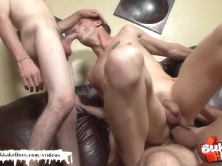 Sexy bukkake boy takes two fat cocks up his ass at the same time!