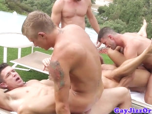Outdoor orgy climax on Trenton Ducati