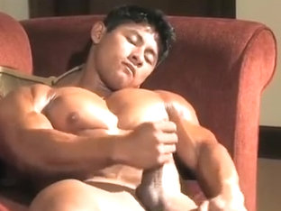 Muscle japanese cum and take a shower