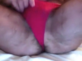 Hairy butt and shaved pink pussy in lace panties