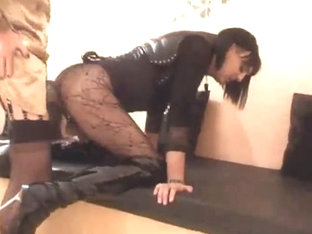 Pervert crossdressers doggy style twosome