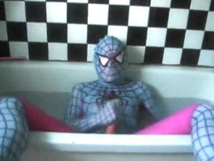 Sexual Wetlook Washroom 9: Light Blue & Pink Spiderman Zentai