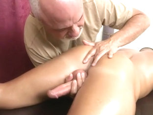 Grandpa makes hot young jock shoot over his own face