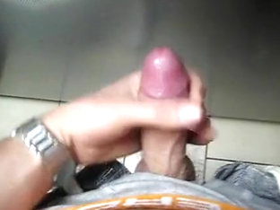 Twink stroking and cumming at the service station