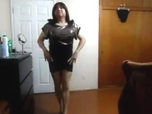 Transgender shine gold black bottom mini dress video1