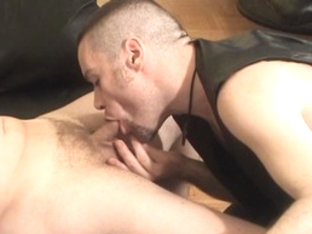 Amazing male pornstar in hottest leather, blowjob homosexual porn scene