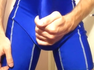 Wank And Cum In Blue Wrestling Singlet