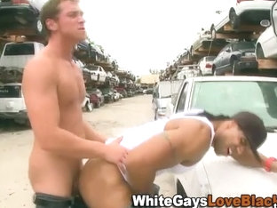 Amateur black thug rammed outdoors