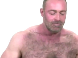 Hairy bear in threesome with 2 junior guys