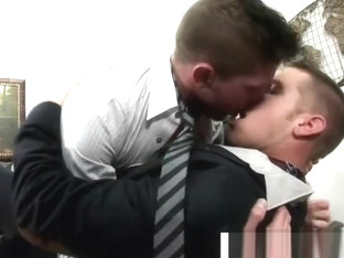 Steamy gay foreplay in the office