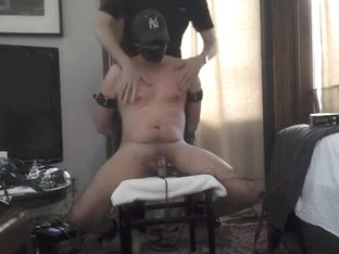 Chair bondage and huge electro buttplug