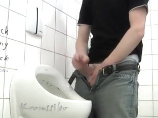 Kroussibo Jerk Off and SelfSuck in Public Toilet #1