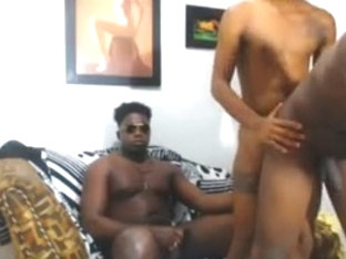 Lite skin latino enjoying two black dicks