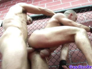 Robert Van Damme and pals orgy in cage