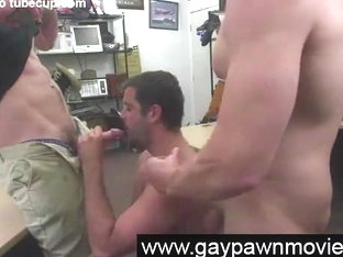 Straight sucking gay cocks for cash in threesome